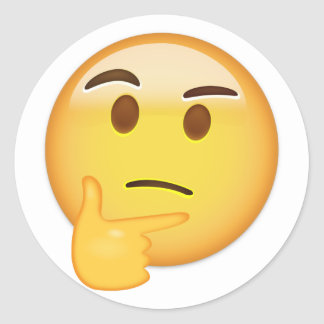 考えるな顔Emoji ラウンドシール