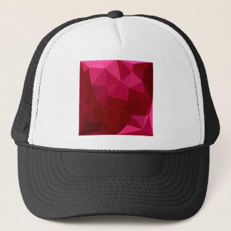 耐火れんがの赤の抽象芸術の低い多角形の背景 キャップ
