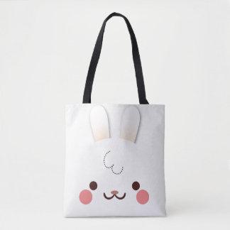 耳を搭載するシンプルでかわいく白いウサギの顔 トートバッグ