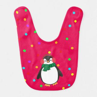 耳を搭載する赤のクリスマスのペンギンはよだれかけをしくじります ベビービブ