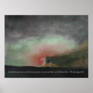 聖なる書物、経典の引用文のプリントを持つ淡い色のな馬を見て下さい ポスター