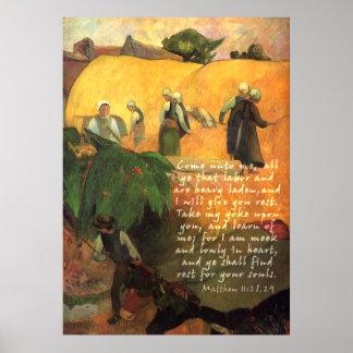 聖なる書物、経典の詩のポール・ゴーギャンのHaymaking ポスター