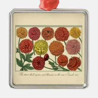 聖なる書物、経典の詩のヴィンテージの植物の花柄 メタルオーナメント