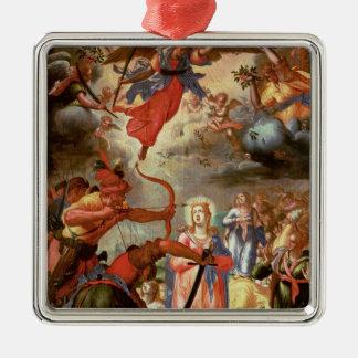 聖ウルスラの殉教、17世紀初頭 シルバーカラー正方形オーナメント