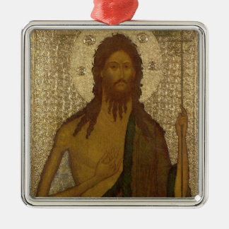 聖ヨハネのアイコン前触れ シルバーカラー正方形オーナメント