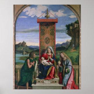 聖ヨハネを持つマドンナそして子供バプテストおよびMa ポスター