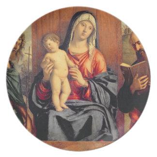 聖ヨハネを持つマドンナそして子供バプテストおよびSt プレート