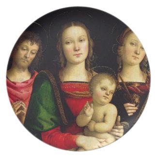 聖ヨハネを持つマドンナそして子供バプテスト プレート