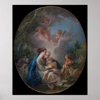 聖ヨハネを持つヴァージン及び子供バプテスト ポスター