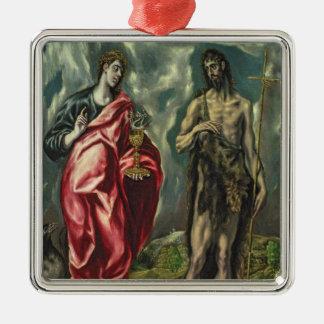 聖ヨハネ福音伝道者および聖ヨハネバプテスト メタルオーナメント