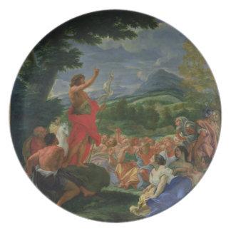 聖ヨハネ説教しているバプテスト169の前に絵を描かれて プレート