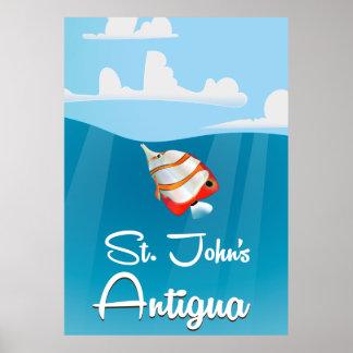 聖ヨハネ、アンチグアバーブーダ旅行ポスター ポスター
