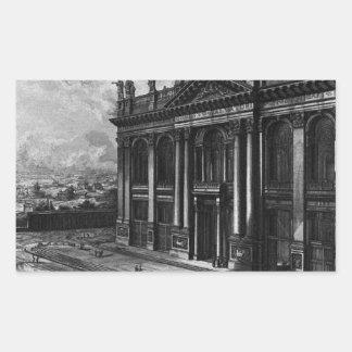 聖ヨハネLateranのバシリカ会堂の内部の眺め 長方形シール