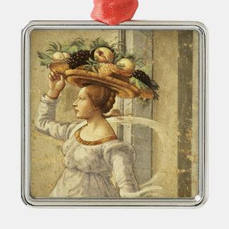 聖ヨハネtの誕生からのフルーツを、運んでいる女性 メタルオーナメント