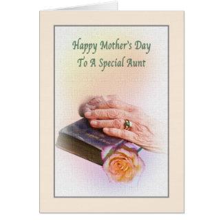 聖書およびばら色カードとの叔母さんの母の日 カード