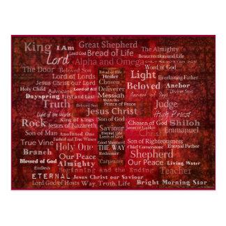 聖書からのイエス・キリストの名前 ポストカード