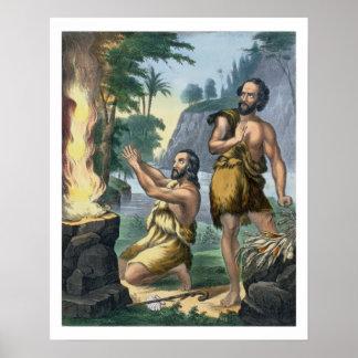 聖書のプリントからのカインそしてアベルの犠牲、 ポスター