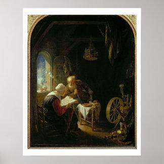 聖書のレッスン、かアンおよびトビアス(パネルの油 ポスター