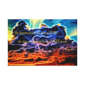 聖書の充電された積雲Skyscape キャンバスプリント