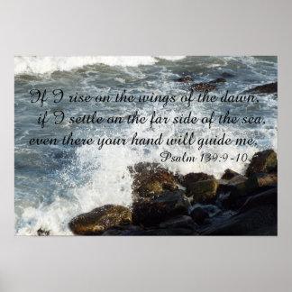 聖書の引用文の賛美歌の139:9 - 10ポスター ポスター