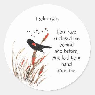 聖書の聖なる書物、経典の詩の賛美歌の139:5のクロドリ ラウンドシール