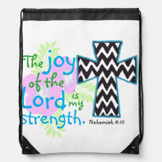 聖書の詩およびNehemiahの十字の8:10 ナップサック