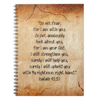 聖書の詩のアイザイアの40:10 ノートブック