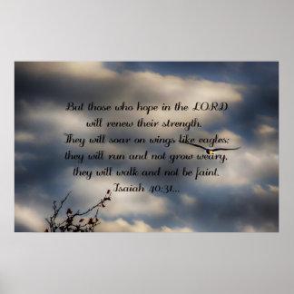 聖書の詩のアイザイアの40:31 ポスター
