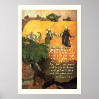 聖書の詩のクリスチャンとのポール・ゴーギャンのHaymaking ポスター