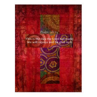 聖書の詩のクリスチャンの芸術を高揚する賛美歌の118:24 ポストカード
