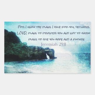 聖書の詩のジェレミアの感動的な29:11 長方形シール