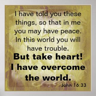 聖書の詩のジョンの16:33 ポスター