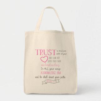 聖書の詩のトートバックの諺の3:5 - 6 トートバッグ