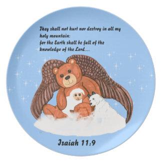 聖書の詩のプレートを持つ天使くま プレート