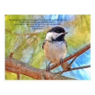 聖書の詩の水彩画の《鳥》アメリカゴガラ ポストカード