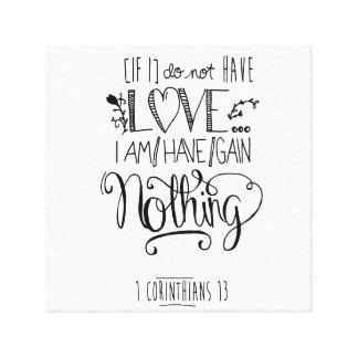 聖書の詩の白いキャンバス- 1 Corinthians 13 キャンバスプリント
