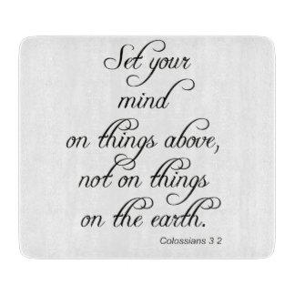 聖書の詩のColは3 2あなたの心の台所食事をセット カッティングボード