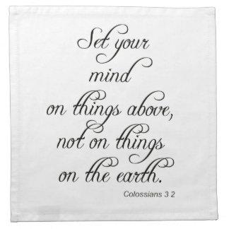 聖書の詩のColは3 2あなたの心の台所食事をセット ナプキンクロス