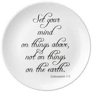 聖書の詩のColは3 2あなたの心の台所食事をセット 磁器プレート