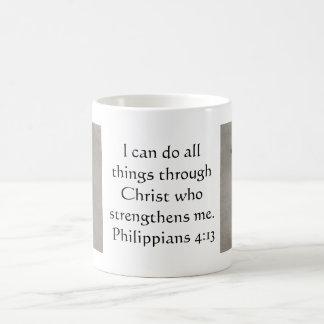 聖書の詩をインスパイアPhilippiansの4:13 コーヒーマグカップ