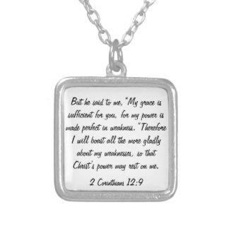 聖書の詩2のCorinthiansの12:9のネックレス シルバープレートネックレス