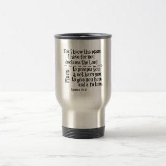 聖書の詩: 私はのために私があなたのために持っている計画を知っています トラベルマグ