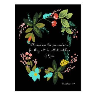 聖書は芸術- Matthewの5:9 --を作詩します ポストカード