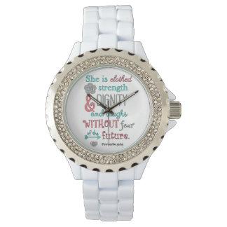 聖書、諺の31:25、彼女は強さで着ます 腕時計