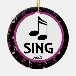 聖歌隊は名前入りな音楽クリスマスのオーナメントを歌います セラミックオーナメント