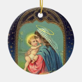 聖母マリアおよびベビーのイエス・キリストのクリスマスのオーナメント セラミックオーナメント