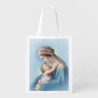聖母マリアおよびベビーのイエス・キリストの買い物袋 エコバッグ