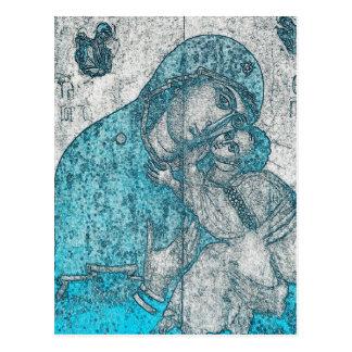 聖母マリアおよび乳児のイエス・キリストヴィンテージの青 ポストカード
