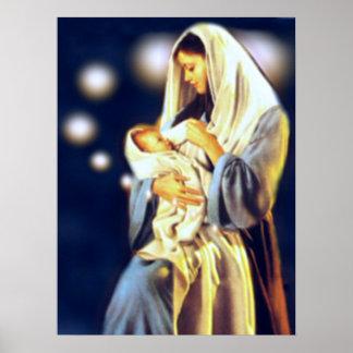 聖母マリアおよび乳児の賛美された子供イエス・キリスト ポスター