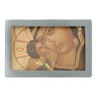 聖母マリアおよび赤ん坊イエス・キリストの正統アイコン 長方形ベルトバックル